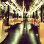 An empty car on the B train, Manhattan.