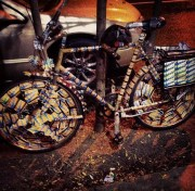 A bike decorated with MetroCards, seen around Manhattan